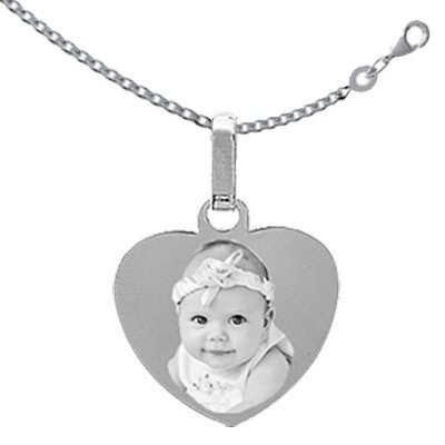 gravure photo sur coeur Argent avec la chaine 50cm
