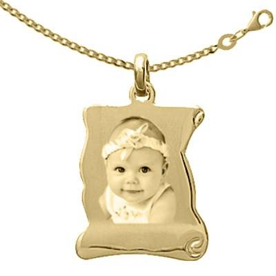 Médaillon parchemin Plaqué or avec la chaîne 50cm