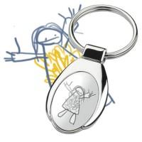 Porte-clés ovale avec dessin d' enfant.