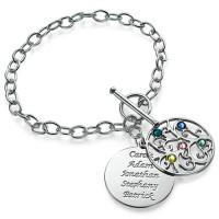Gravure sur un bracelet arbre de vie avec pierres de naissance