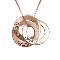 Collier gravé avec 3 anneaux prénom en plaqué or rose