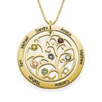 Gravure d'une médaille arbre généalogique en plaqué or avec pierres de naissances personnalisées