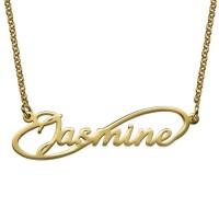 Collier de forme infini personnalisé avec un prénom en plaqué or