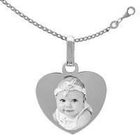 gravure photo sur coeur Argent avec la chaine 45cm