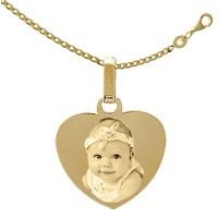 Médaille gravée Coeur Plaqué or avec la chaine 45cm