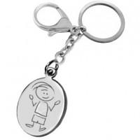 porte clefs gravé avec un dessin garçon