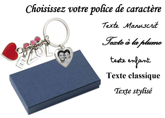 Porte cles multi coeur grave avec une photo en id e cadeau personnalise pour un amour la saint - Porte capitonnee prix ...