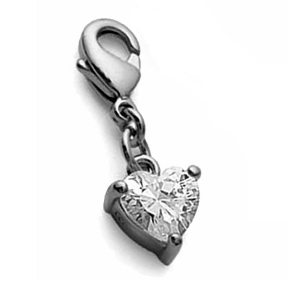 mini Charms coeur strass plaqué or