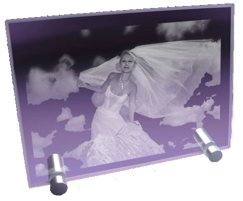 Moyenne plaque photo en horizontale grav�e au laser.
