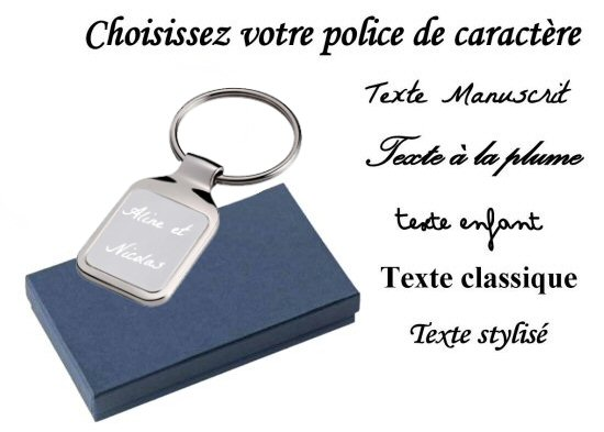 porte cles rectangle avec texte