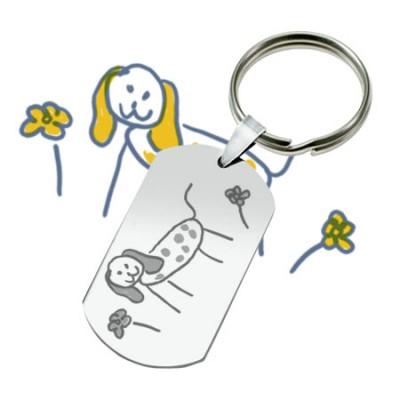 Porte-clés métallique de qualité gravé avec un dessin d'enfant.