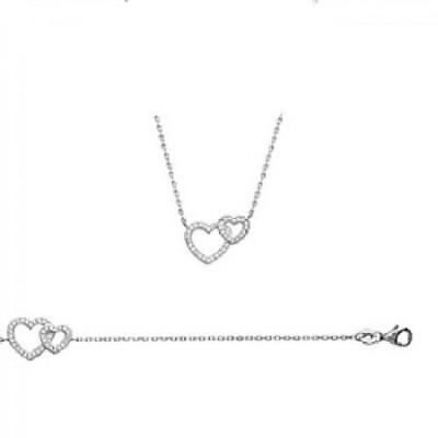 Bracelet deux cœurs entrelacés incrustés de zirconium
