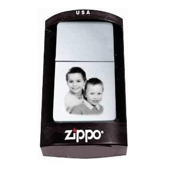 Boite pour briquet zippo gravé avec une photo