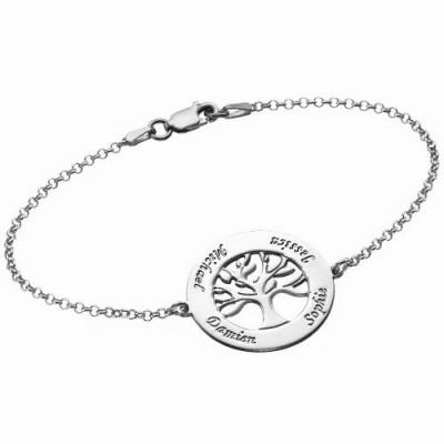 Gravure texte sur un pendentif bracelet cercles avec arbre de vie argent