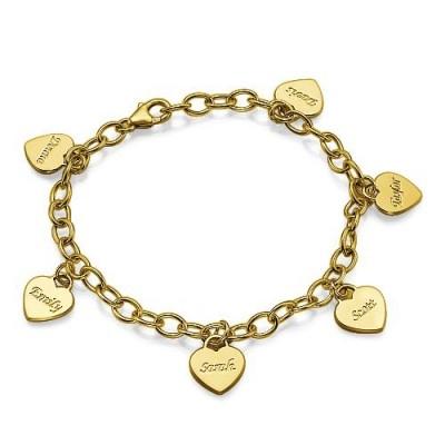Bracelet personnalisé avec médaillon coeur en plaqué or