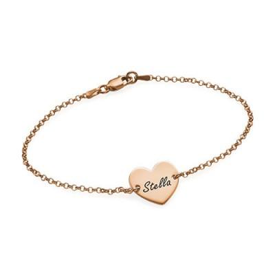 bracelet coeur plaqué or rose personnalisable