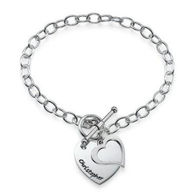 Bracelet double cœur personnalisé Argent