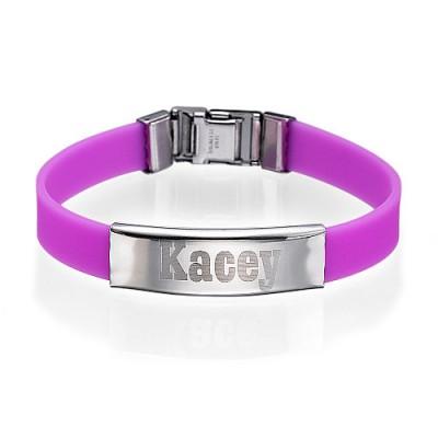 Bracelet silicone avec boucle en acier personnalisée.