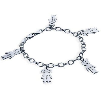 Bracelet prénom avec pendentif enfant en argent