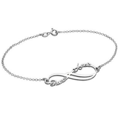 Bracelet infini avec deux prénoms en argent