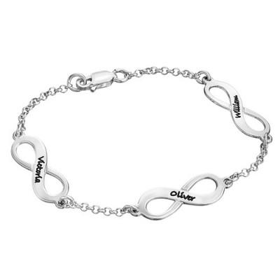 Bracelet prénom avec médailles infini en argent
