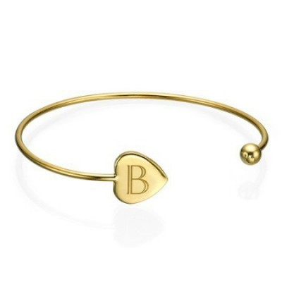 Bracelet initiale en plaqué or ajustable