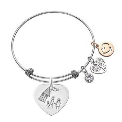 Bracelet avec Plaque coeur argent dessin