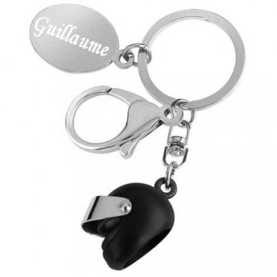 porte clés casque de moto noir gravé