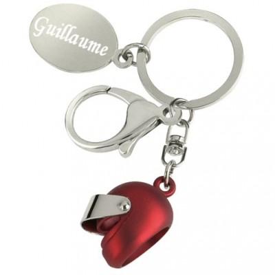 porte clefs casque de moto avec gravure d'un texte