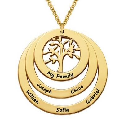 Gravure texte sur un collier cercles avec arbre de vie plaqué or