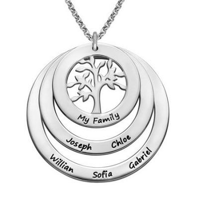 Gravure texte sur un collier cercles avec arbre de vie