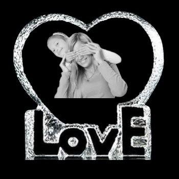 Coeur LOVE gravé au laser avec votre photo