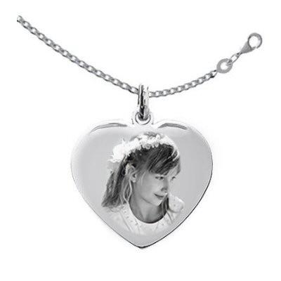Petit médaillon gravé coeur Argent love avec la chaîne