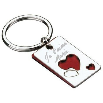 Porte clefs rectangle coeur gravé avec une photo.