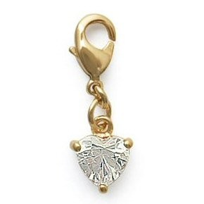 Bijou mini charms coeur strass plaqué or