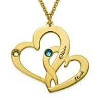 Médaille gravée deux cœurs prénom en plaqué or