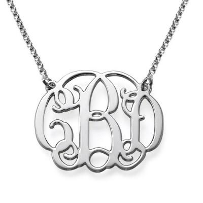 Collier initiale arabesque personnalisé en argent