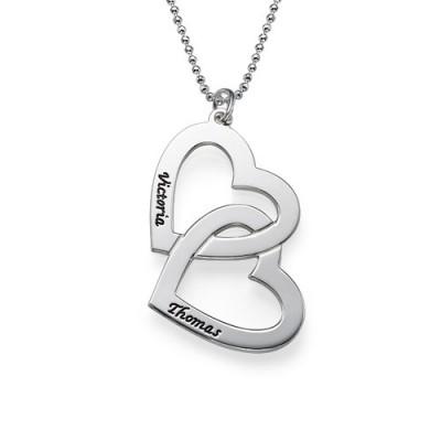 Collier deux cœurs entremêlés avec gravure prénom en argent