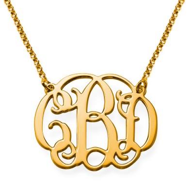 Collier initiale arabesque personnalisé en plaqué or
