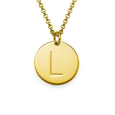 Collier initial avec pendentif gravé en plaqué or