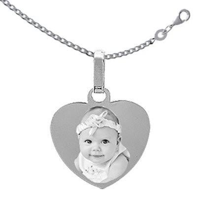Gravure photo sur coeur Argent avec la chaîne.
