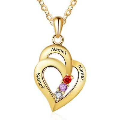 Médaille gravée double coeur prénom argent plaqué or