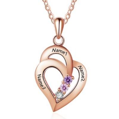 Médaille gravée double coeur prénom plaqué or rose