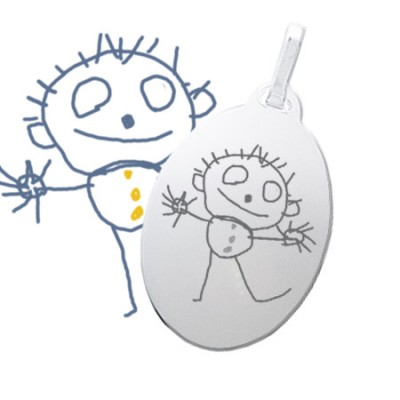 Grand pendentif ovale en argent gravé avec un dessin d'enfant