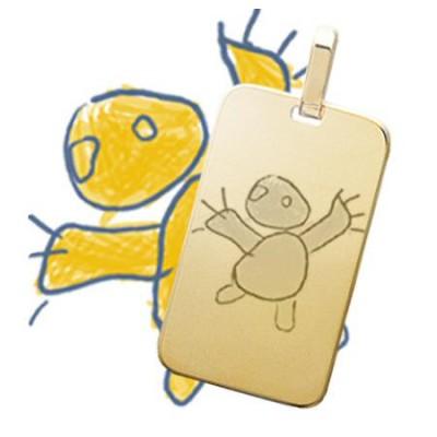 Pendentif grand rectangle plaqué or gravé avec un dessin enfant
