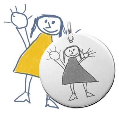 Grand pendentif rond argent gravé avec un dessin enfant