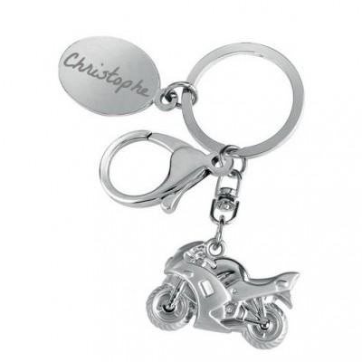 Porte clefs moto gravé avec un texte