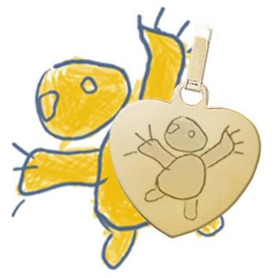 Dessin de votre enfant gravé sur un médaillon cœur en plaqué or