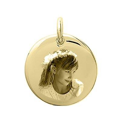 Petit médaillon gravé avec une photo rond bombé plaqué or
