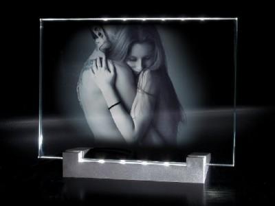 Ensemble support lumineux et plaque photo gravée en horizontale